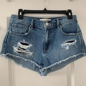 Bullhead High Rise Denim Jean Cut Off Shorts